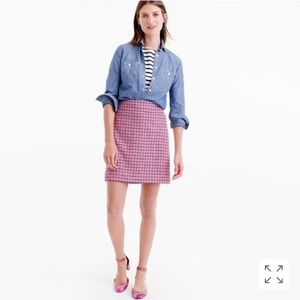NWT J. CREW WOOL MINI SKIRT IN PINK HOUNDSTOOTH